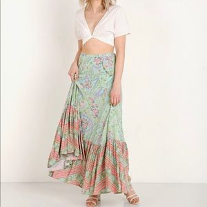 Spell City Lights Celestial Sage Maxi Skirt